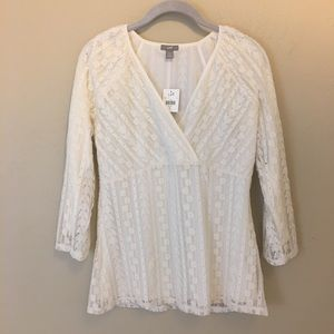 J Jill Women's Top Size Small Stretch Lacy Lined